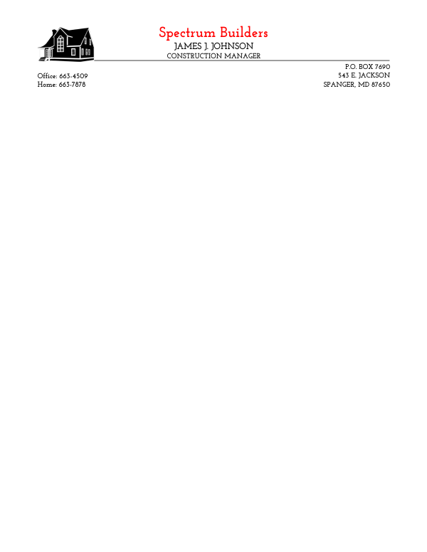 Letterhead Template 10 - 2 Color